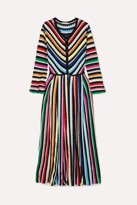Mary Katrantzou Maya Striped Crochet-knit Maxi Dress - Yellow b098cdf2e