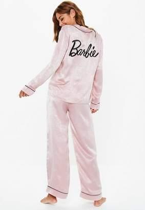 Missguided Barbie X Pink Satin Pyjama Set, Pink