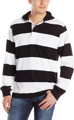 Charles River Apparel Men's Hooded Rugby Pullover, Black/White