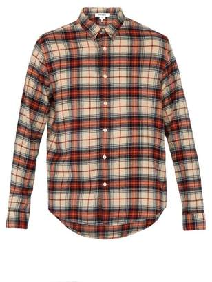 Frame Checked Cotton Shirt - Mens - Brown Multi