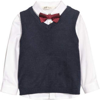 H&M Shirt and Sweater Vest - White