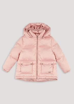 Emporio Armani Padded Glossy Nylon Jacket With Hood And Pockets