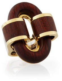 David Webb 18k Gold Bloodwood Buckle Ring, Size 6.5