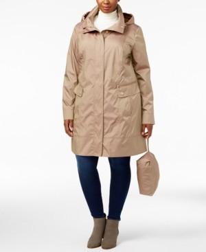 Cole Haan Plus Size Packable Water Resistnt Raincoat