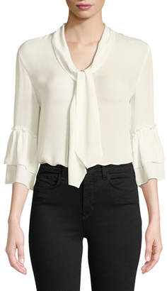 L'Agence Desa Tie-Neck Silk Button-Front Blouse
