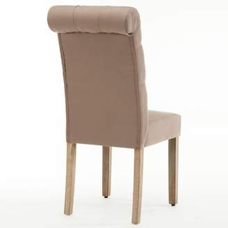 AC Pacific Christies Roll Top Tufted Modern Upholstered Dining Chair