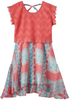 Nannette Girls 4-6x Nanette Lace Overlay Printed Dress
