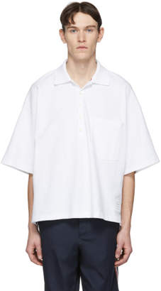 Thom Browne White Oversized Classic Polo