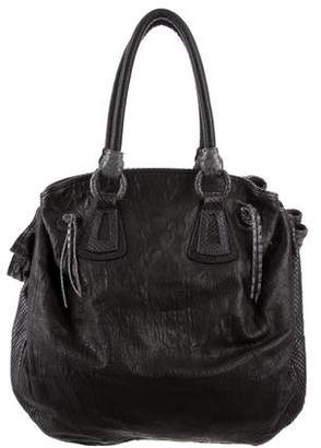 Carlos Falchi Python-Trimmed Leather Satchel