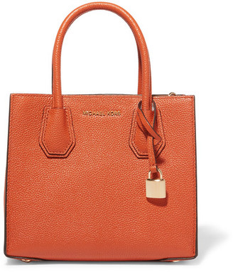 MICHAEL Michael Kors - Mercer Messenger Textured-leather Tote - Bright orange $228 thestylecure.com
