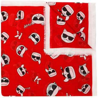 Karl Lagerfeld Choupette printed scarf