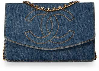 Chanel Blue Denim Timeless Classic Wallet on Chain (WOC)