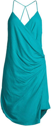 Haute Hippie Poolside Wrap-Front Sleeveless Mini Dress
