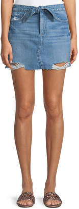 Paige Aideen Tie-Front Distressed Denim Skirt