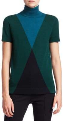 Akris Punto Argyle Turtleneck Top