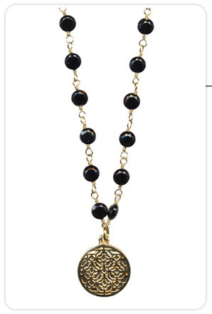 Maya Brenner Black Onyx Labyrinth Pendant Necklace