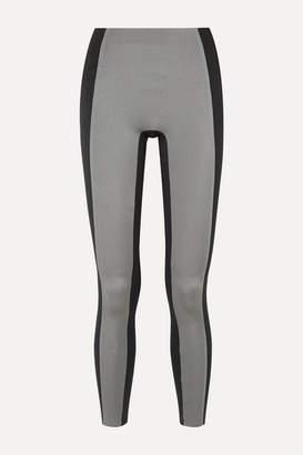 Reebok x Victoria Beckham Two-tone Metallic Stretch Leggings - Silver