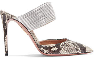 Aquazzura Rendez Vous Elaphe And Metallic Leather Mules - Snake print