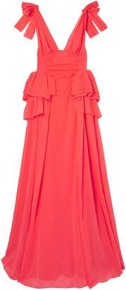 Rosie Assoulin Bow-embellished Ruffled Cotton Maxi Dress