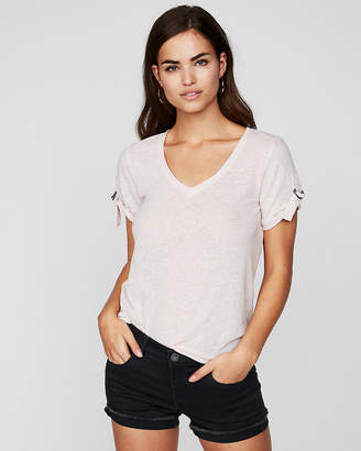 Express One Eleven V-Neck Rolled Sleeve Tee