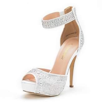 DREAM PAIRS Women's Swan-05 Shine Gold High Heel Plaform Dress Pump Shoes