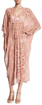 Miguelina Rachel Scallop Lace Long Coverup Caftan $598 thestylecure.com