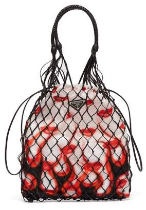 Prada Netted Faux Leather Lipstick Print Bag - Womens - White Multi