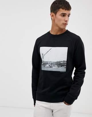 Nudie Jeans Samuel graphic harbour logo sweatshirt in black