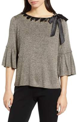 Ming Wang Ruffle Sleeve Ribbon Tie Shimmer Sweater