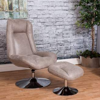 Vogue Furniture Direct High Back Manual Swivel Recliner with Ottoman-Grey VF1541005