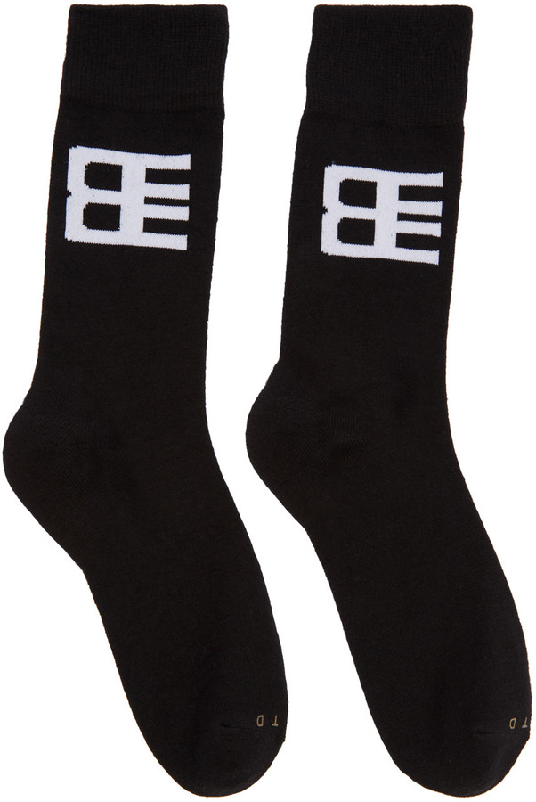 Baja East Three-Pack Black Logo Socks