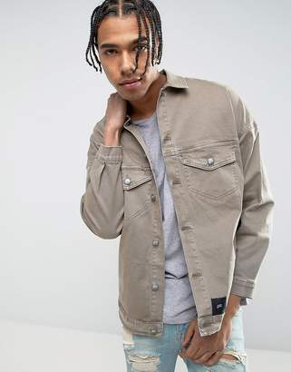 Sixth June Oversized Denim Jacket In Stone With Distressing