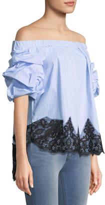 Few Moda Striped Off-the-Shoulder Lace-Hem Blouse