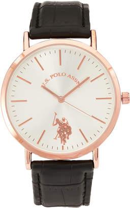 U.S. Polo Assn. USC42028 Rose Gold-Tone & Black Watch