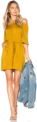 Chaser Cool Jersey Off Shoulder Dress in Mustard $97 thestylecure.com