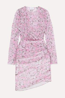 Giambattista Valli Ruched Floral-print Silk-chiffon Mini Dress - Pink