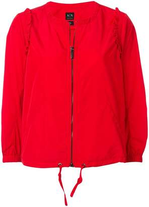 Armani Exchange zipped ruffle detail jacket