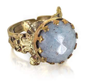 Celestina Sara Bencini Polished Brass and Faceted Round Cabochon Florence Ring