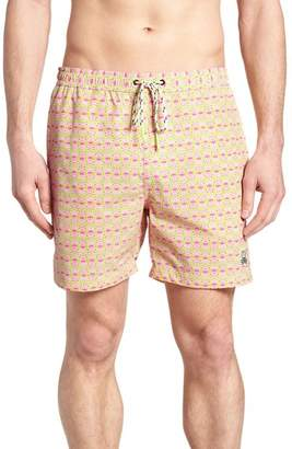 Psycho Bunny Bottoms Print Swim Trunks