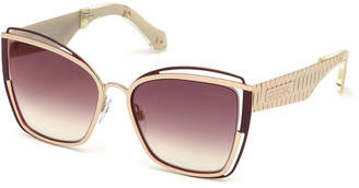 Roberto Cavalli Cutout Cat-Eye Mirrored Sunglasses