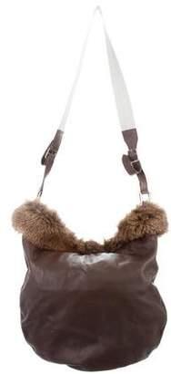 Brunello Cucinelli Fur-Accented Leather Hobo