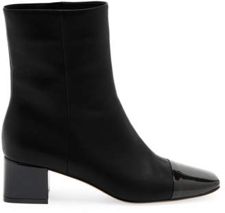 Gianvito Rossi Logan Two-Tone Cap-Toe Leather Ankle Boots