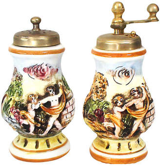 One Kings Lane Vintage Capodimonte Salt & Pepper Mills - Set of 2 - Laurie Frank