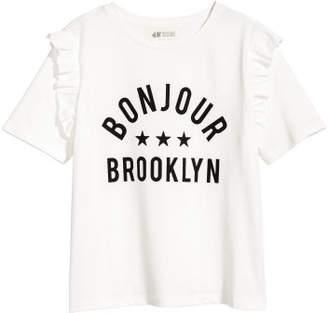 H&M Ruffle-trimmed T-shirt - White
