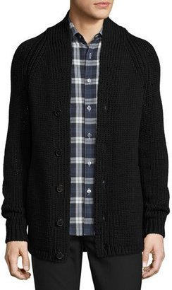 Theory Roden Merino Wool-Blend Cardigan, Black $695 thestylecure.com