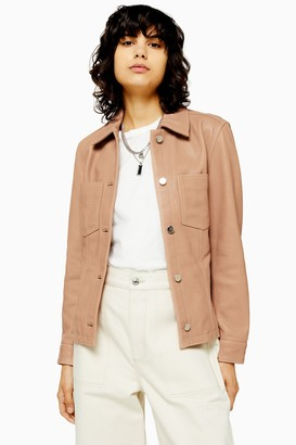 Topshop Nude Leather Jacket