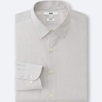 UNIQLO Men's Easy Care Slim Fit Striped Long Sleeve Shirt $29.90 thestylecure.com