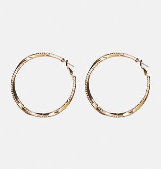 Avenue Stone Twist Hoop Earrings