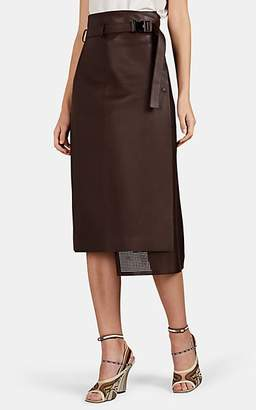 Fendi Women's Perforated-Inset Leather Midi-Skirt - Brown