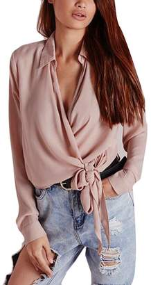 60ec49027 Pandapang Womens Long Sleeve Solid Color V-Neck Silk Bow Tie Wrap Blouse  Shirt Top
